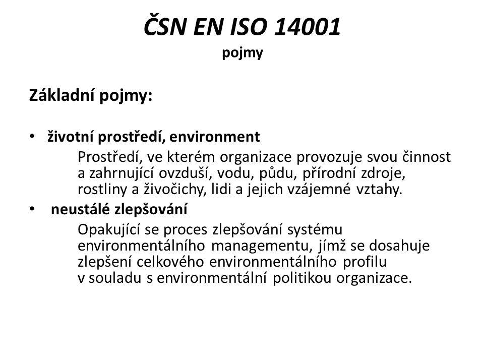 ČSN EN ISO 14001 pojmy Základní pojmy: životní prostředí, environment