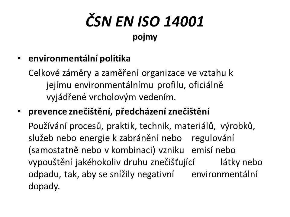 ČSN EN ISO 14001 pojmy environmentální politika
