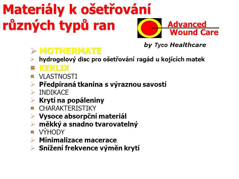 Materiály k ošetřování různých typů ran