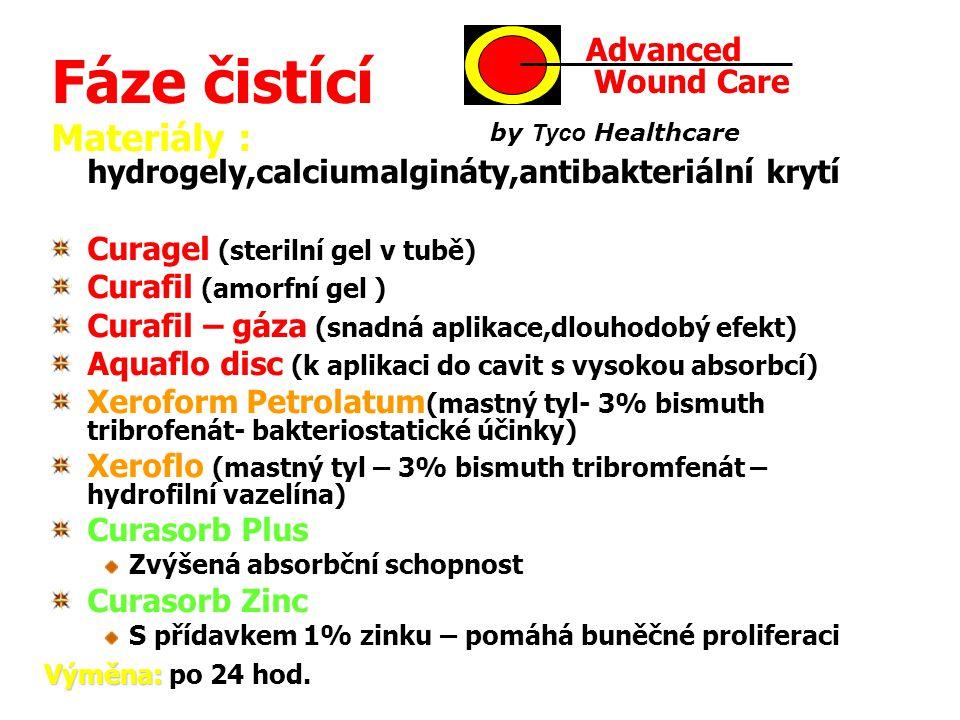Fáze čistící Advanced. Wound Care. by Tyco Healthcare. Materiály : hydrogely,calciumalgináty,antibakteriální krytí.