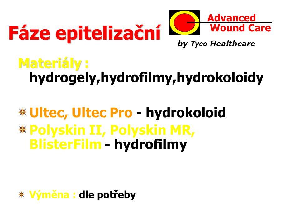 Fáze epitelizační Materiály : hydrogely,hydrofilmy,hydrokoloidy