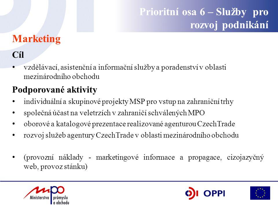 Prioritní osa 6 – Služby pro rozvoj podnikání