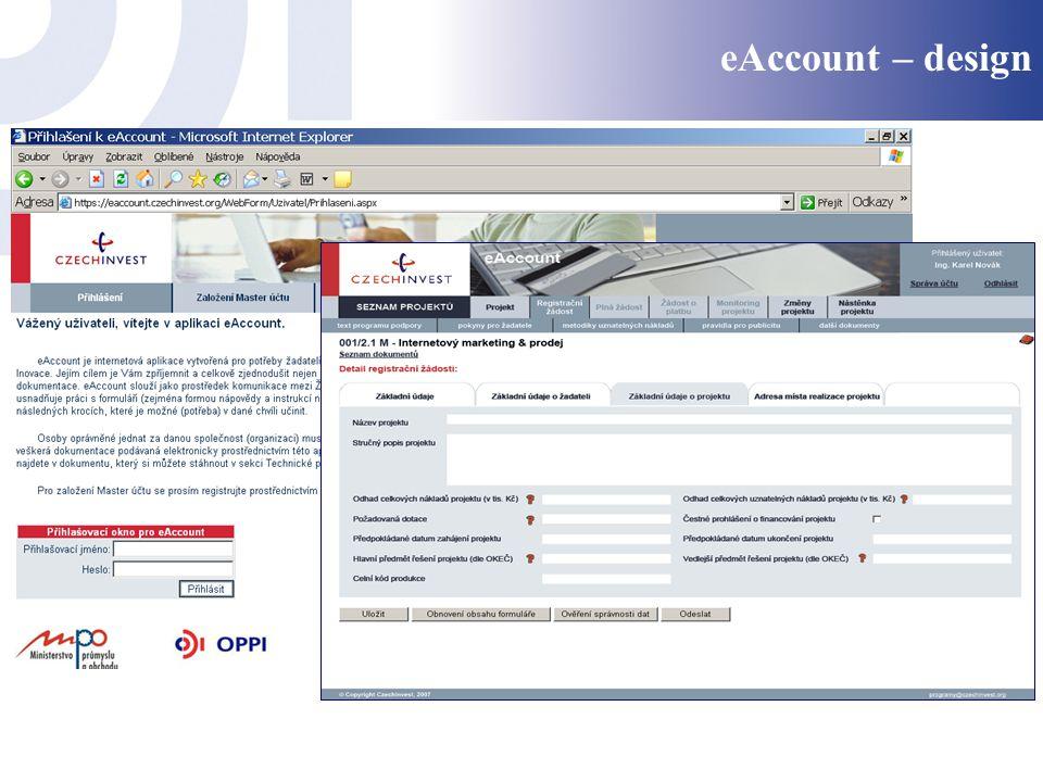 eAccount – design Úvodní stránka webu Ukázka formuláře projektu