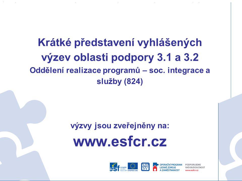 Krátké představení vyhlášených výzev oblasti podpory 3. 1 a 3