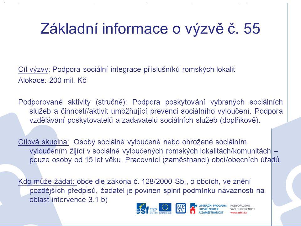 Základní informace o výzvě č. 55