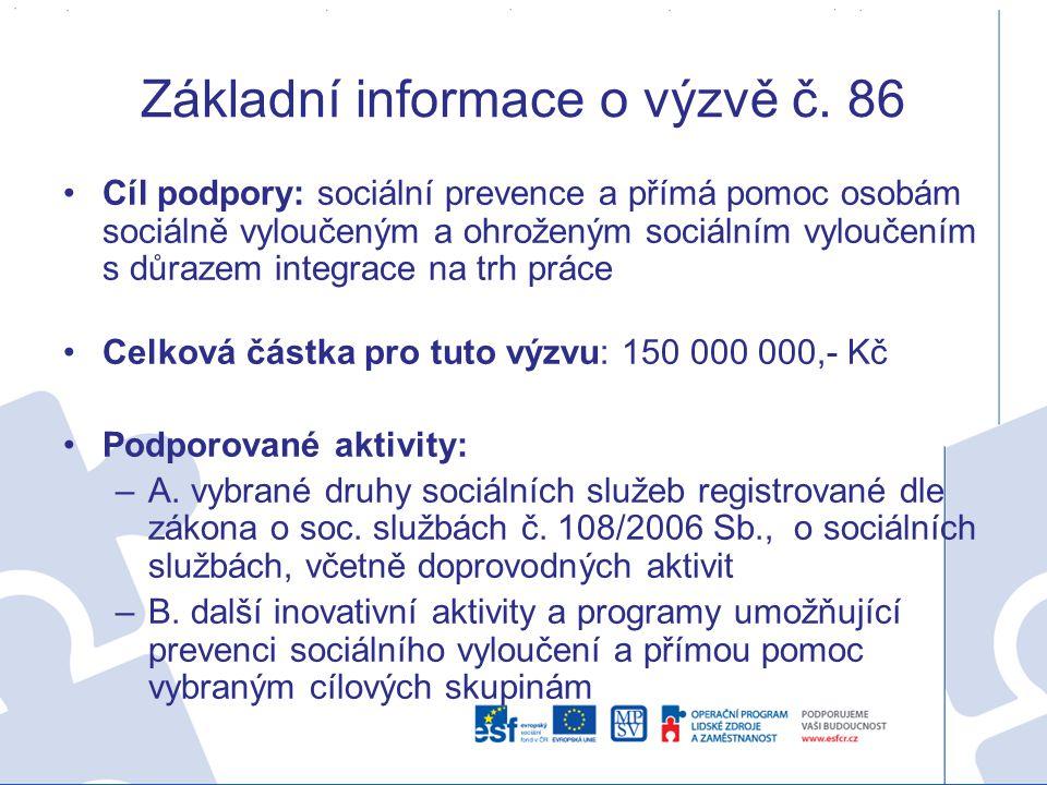 Základní informace o výzvě č. 86