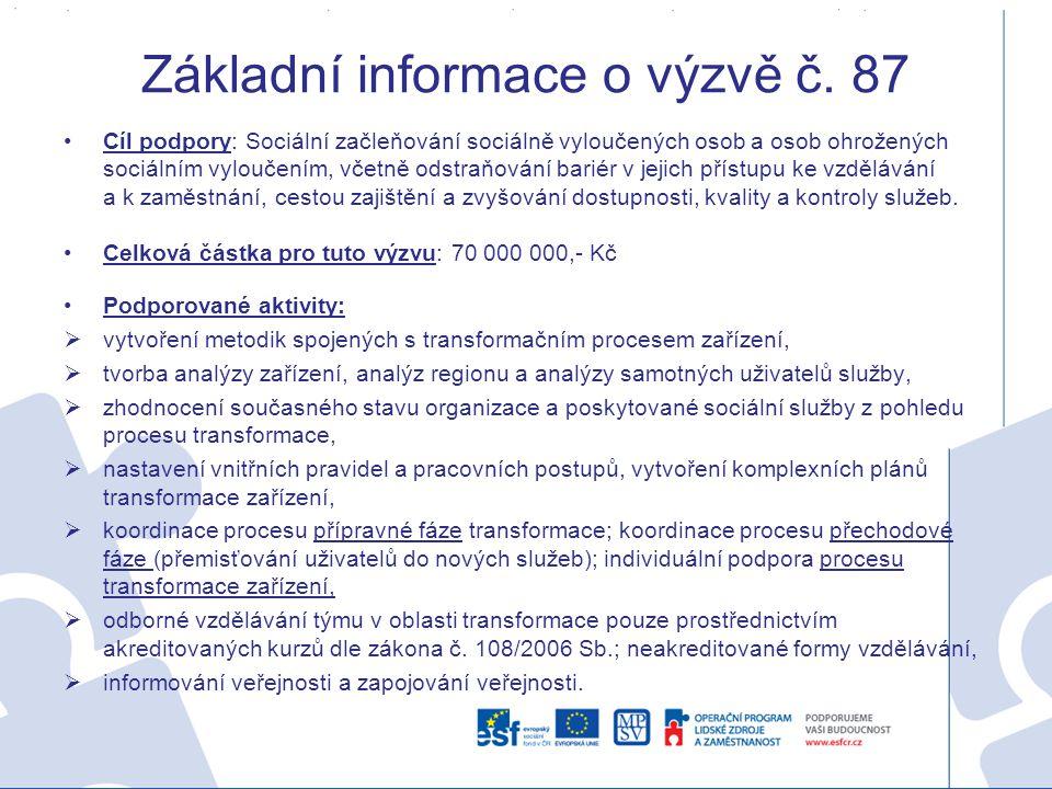 Základní informace o výzvě č. 87