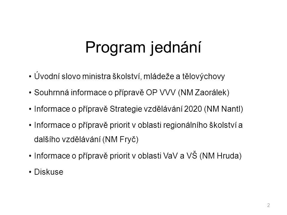 Program jednání Úvodní slovo ministra školství, mládeže a tělovýchovy