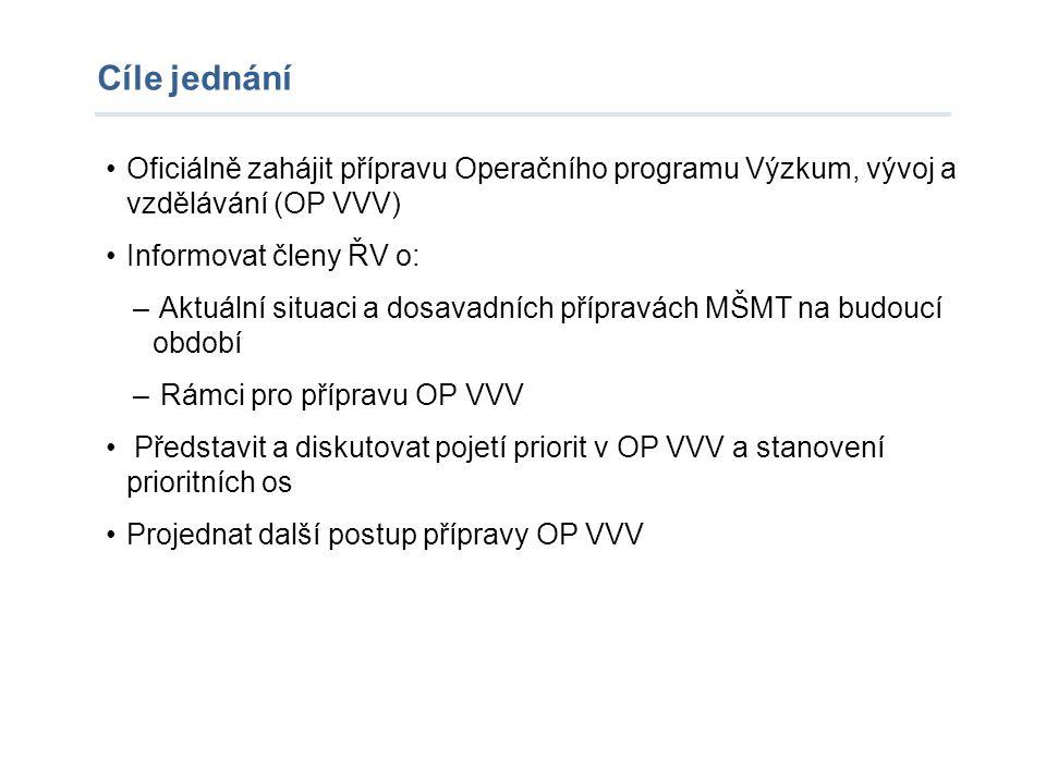 Cíle jednání Oficiálně zahájit přípravu Operačního programu Výzkum, vývoj a vzdělávání (OP VVV) Informovat členy ŘV o: