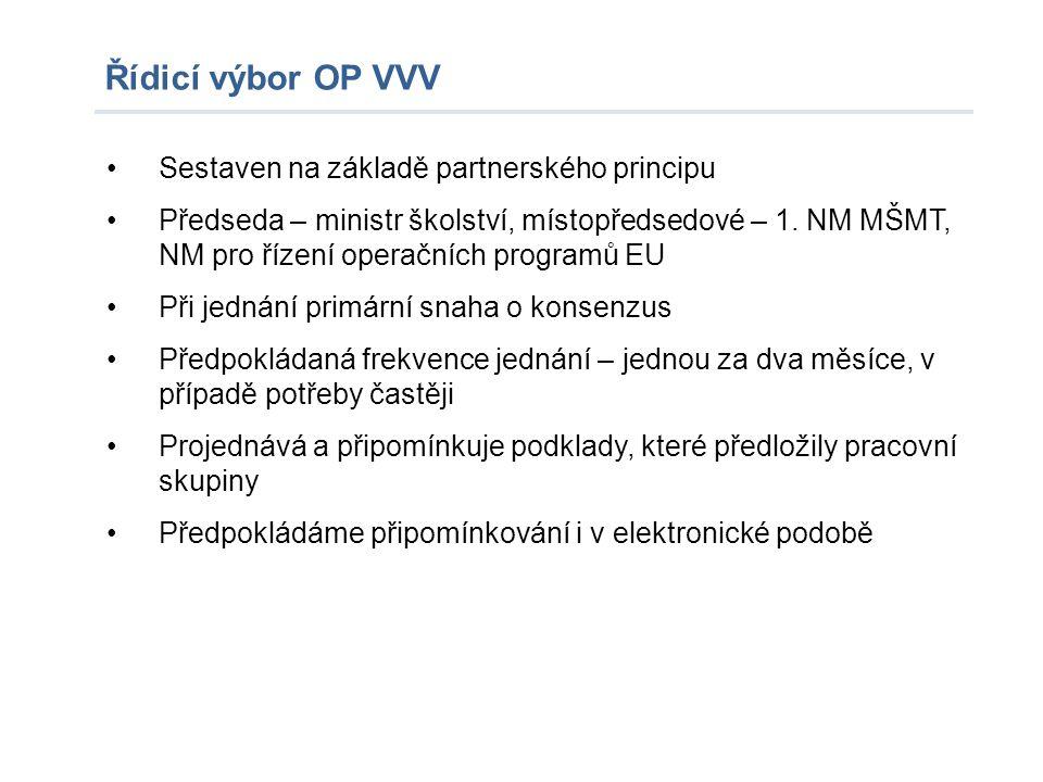 Řídicí výbor OP VVV Sestaven na základě partnerského principu