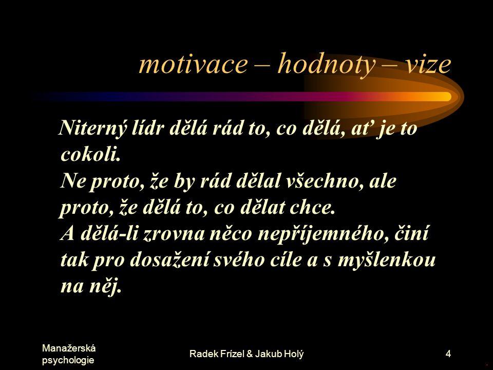motivace – hodnoty – vize