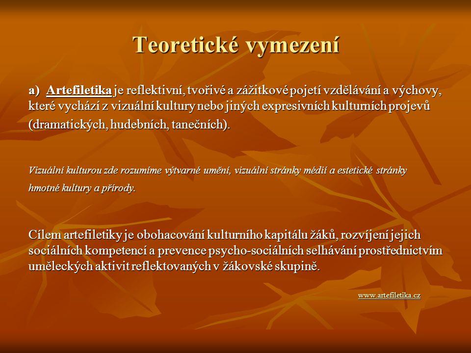 Teoretické vymezení a) Artefiletika je reflektivní, tvořivé a zážitkové pojetí vzdělávání a výchovy,