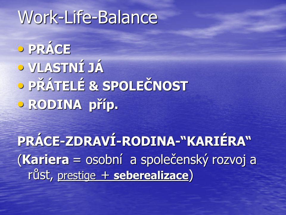 Work-Life-Balance PRÁCE VLASTNÍ JÁ PŘÁTELÉ & SPOLEČNOST RODINA příp.