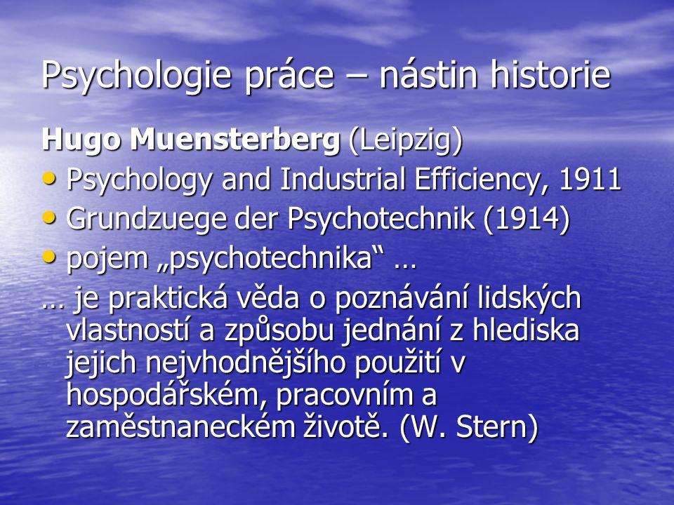 Psychologie práce – nástin historie