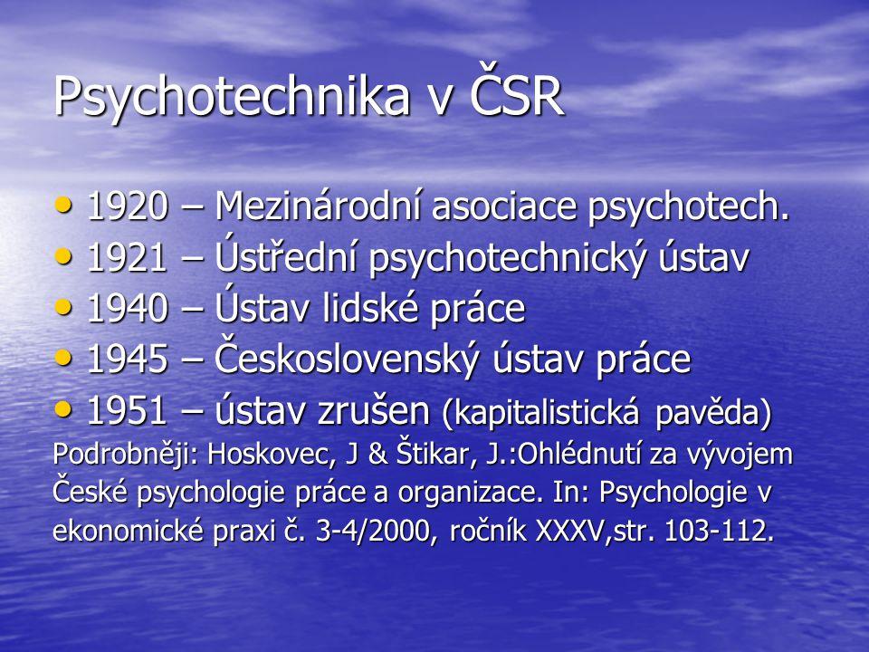 Psychotechnika v ČSR 1920 – Mezinárodní asociace psychotech.