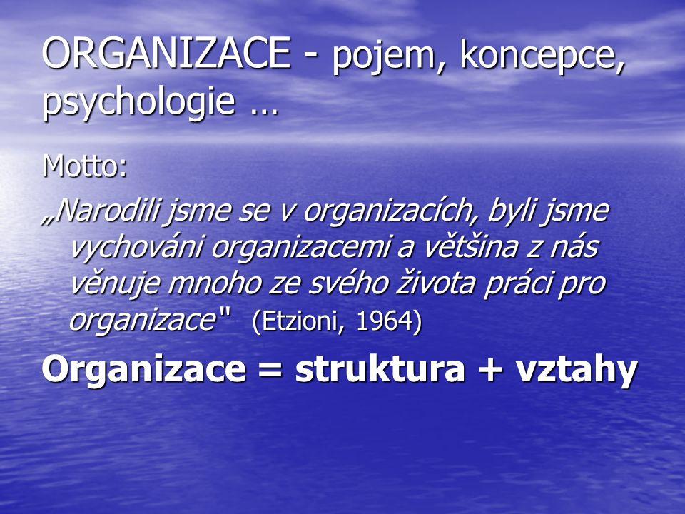 ORGANIZACE - pojem, koncepce, psychologie …