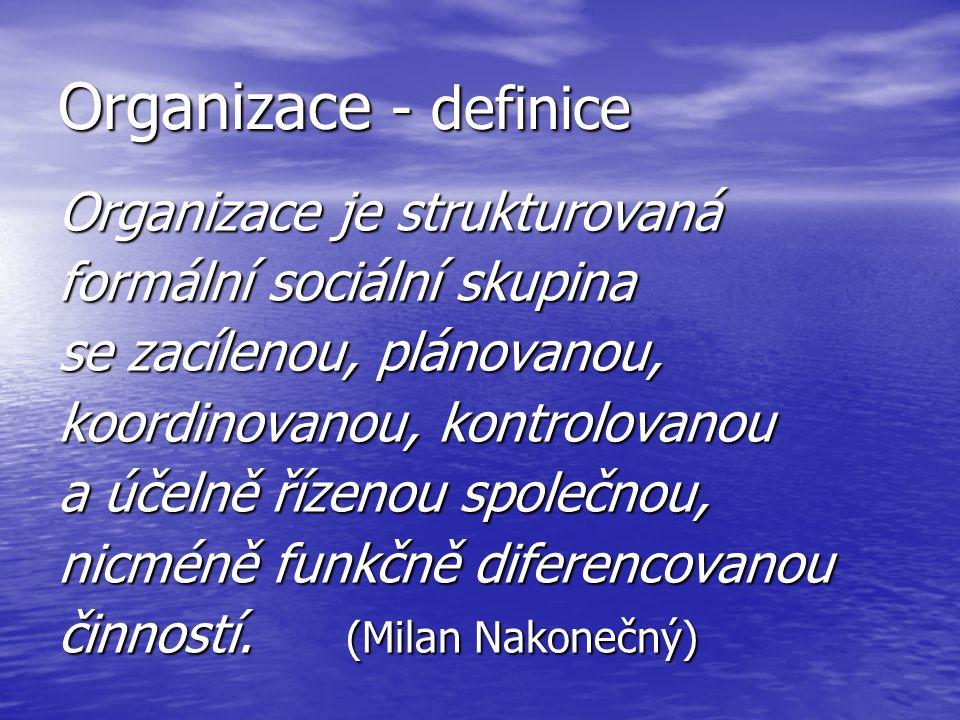 Organizace - definice Organizace je strukturovaná