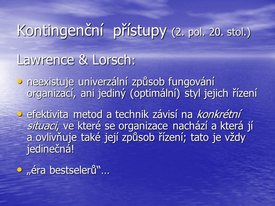 Kontingenční přístupy (2. pol. 20. stol.)