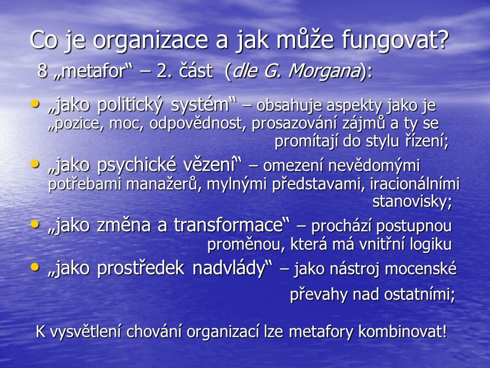 """Co je organizace a jak může fungovat. 8 """"metafor – 2. část (dle G"""