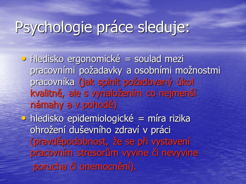 Psychologie práce sleduje: