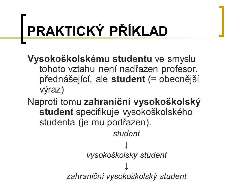 PRAKTICKÝ PŘÍKLAD Vysokoškolskému studentu ve smyslu tohoto vztahu není nadřazen profesor, přednášející, ale student (= obecnější výraz)