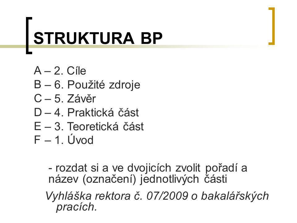 STRUKTURA BP A B – 6. Použité zdroje C – 5. Závěr D