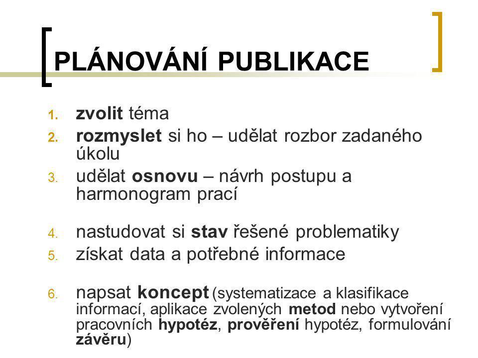 PLÁNOVÁNÍ PUBLIKACE zvolit téma
