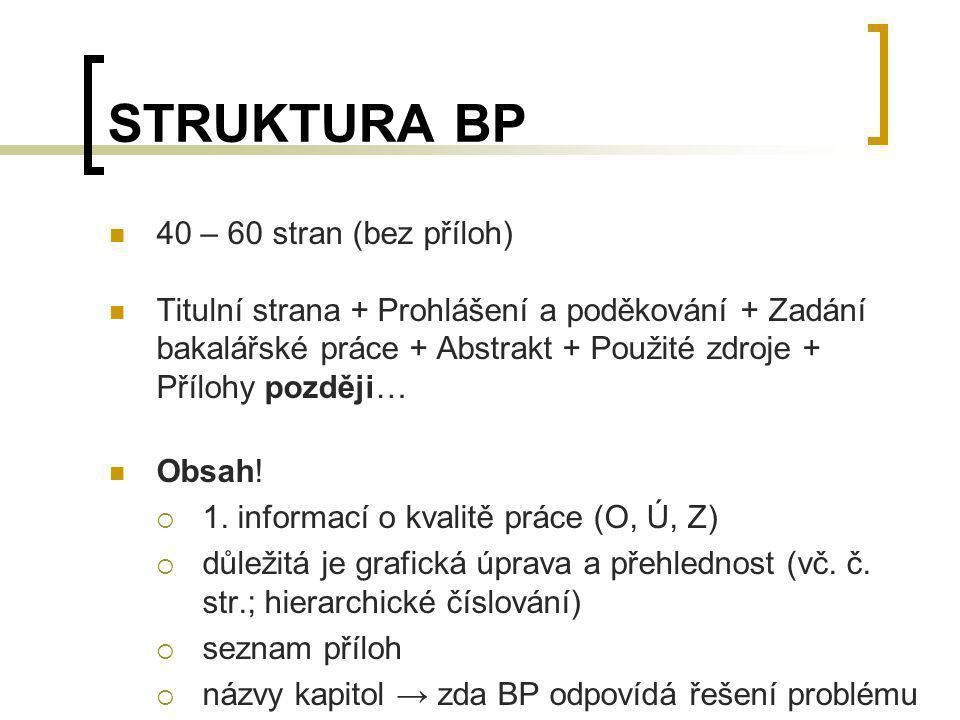 STRUKTURA BP 40 – 60 stran (bez příloh)