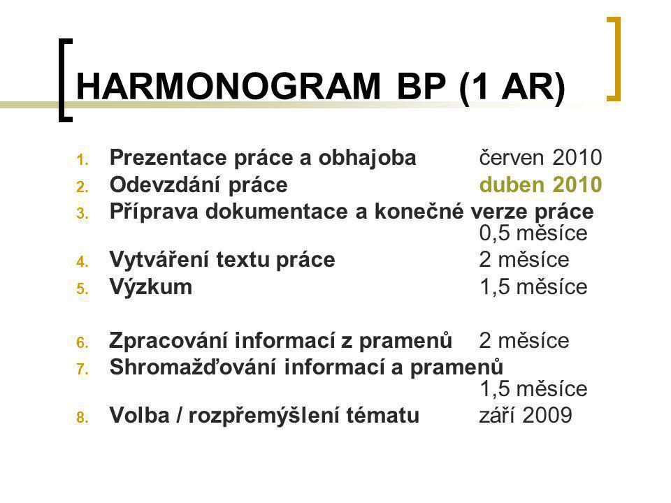 HARMONOGRAM BP (1 AR) Prezentace práce a obhajoba červen 2010