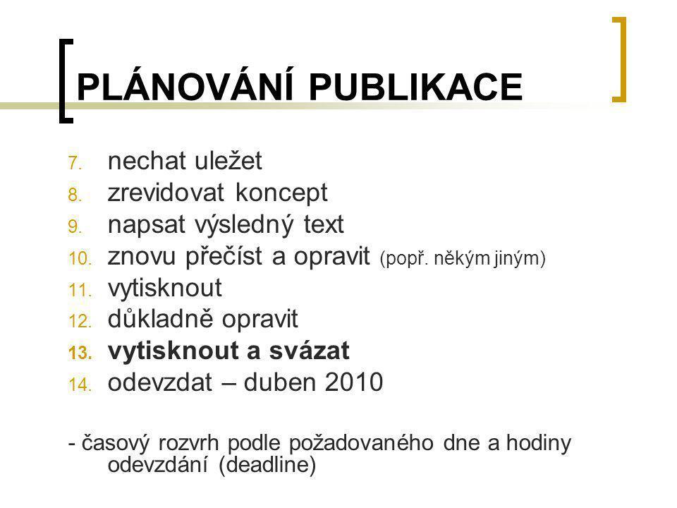 PLÁNOVÁNÍ PUBLIKACE nechat uležet zrevidovat koncept