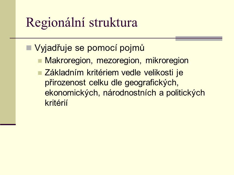 Regionální struktura Vyjadřuje se pomocí pojmů
