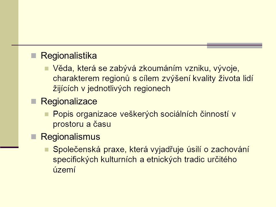 Regionalistika Regionalizace Regionalismus