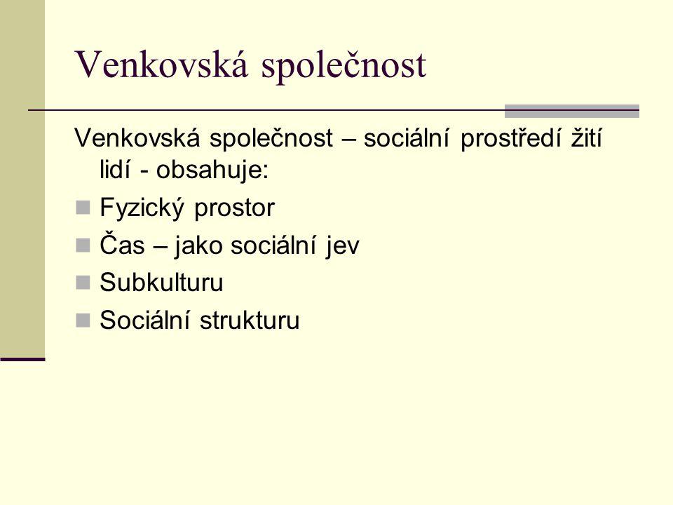 Venkovská společnost Venkovská společnost – sociální prostředí žití lidí - obsahuje: Fyzický prostor.