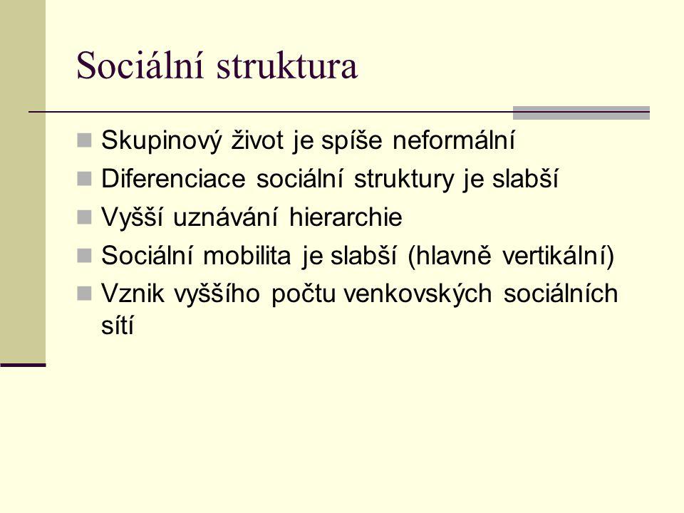 Sociální struktura Skupinový život je spíše neformální
