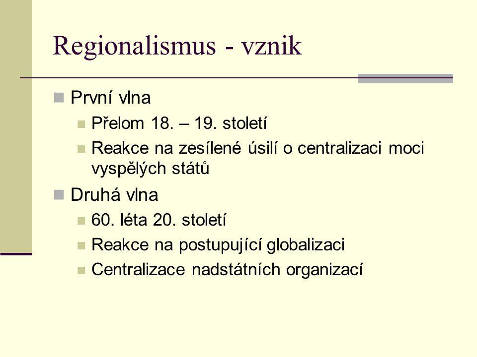 Regionalismus - vznik První vlna Druhá vlna Přelom 18. – 19. století
