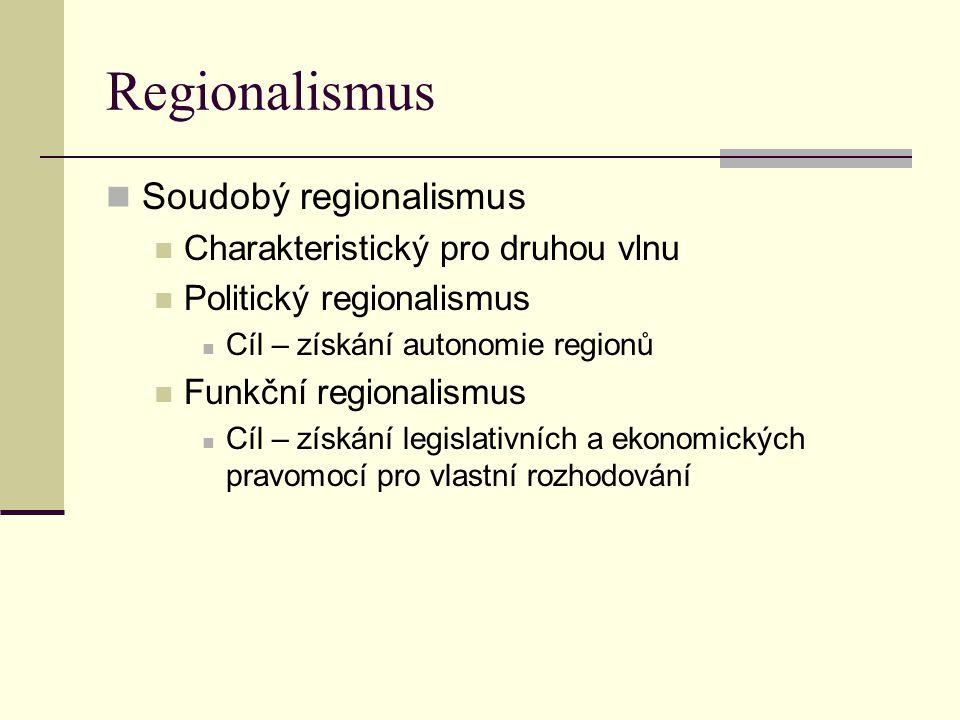 Regionalismus Soudobý regionalismus Charakteristický pro druhou vlnu