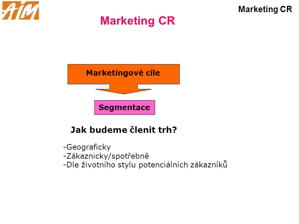 Marketing CR Marketing CR Jak budeme členit trh Marketingové cíle