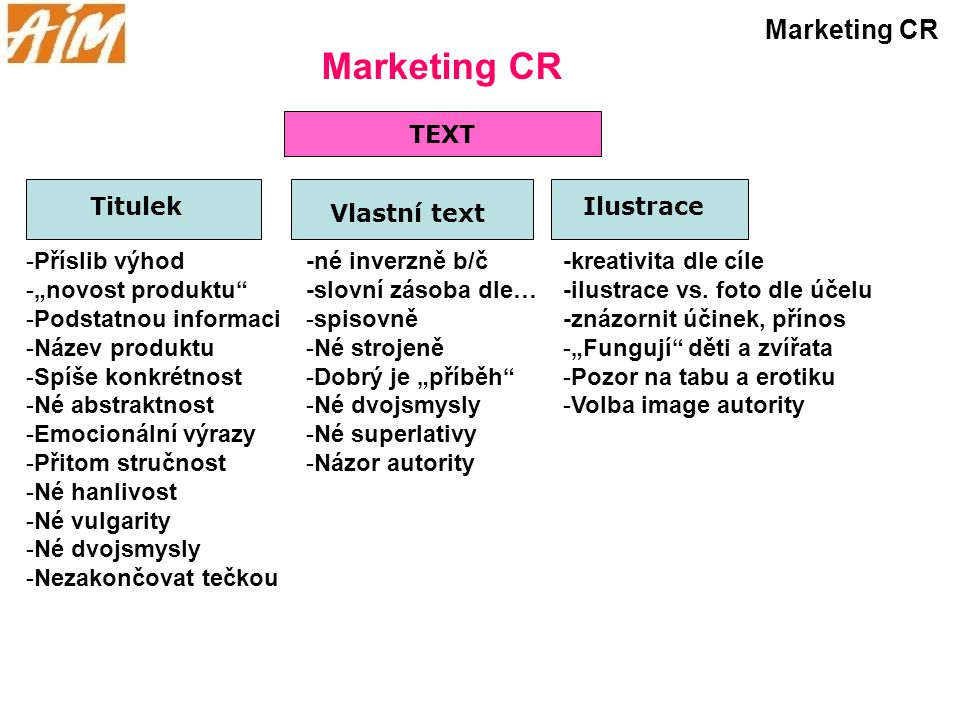Marketing CR Marketing CR TEXT Titulek Ilustrace Vlastní text