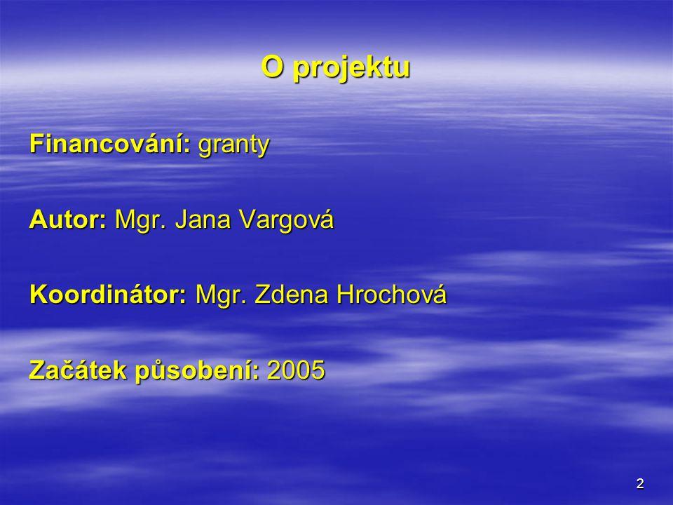 O projektu Financování: granty Autor: Mgr. Jana Vargová