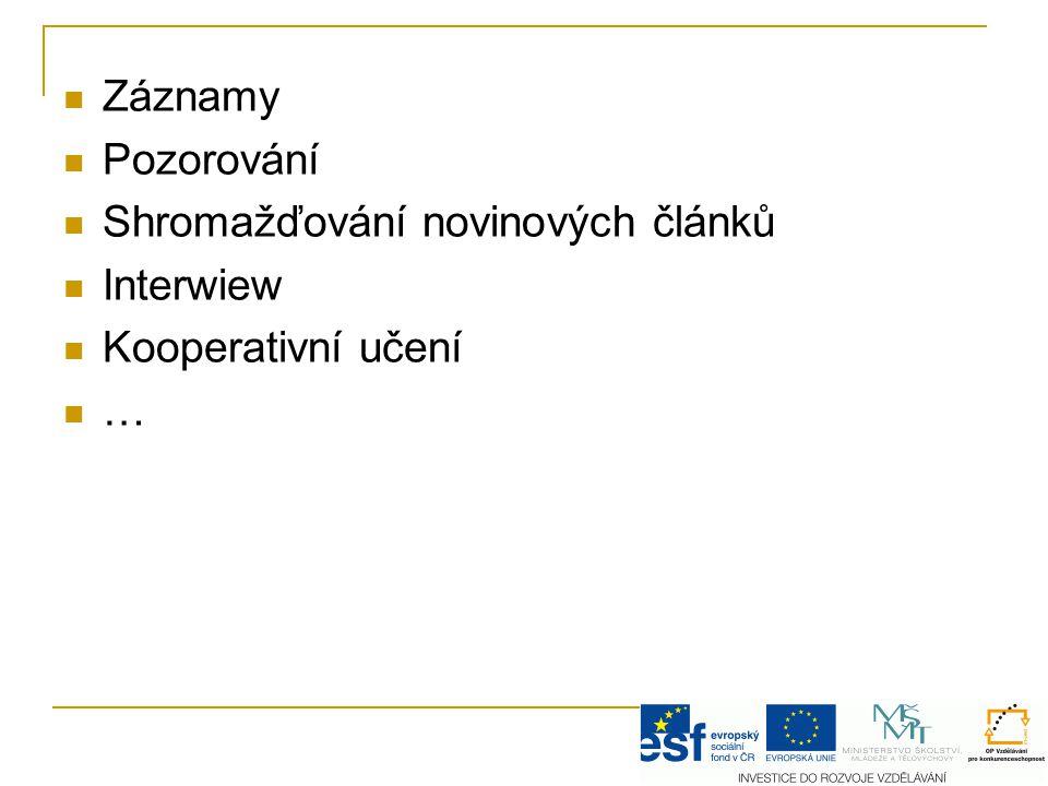 Záznamy Pozorování Shromažďování novinových článků Interwiew Kooperativní učení …