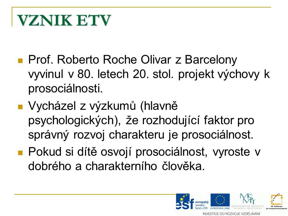 VZNIK ETV Prof. Roberto Roche Olivar z Barcelony vyvinul v 80. letech 20. stol. projekt výchovy k prosociálnosti.