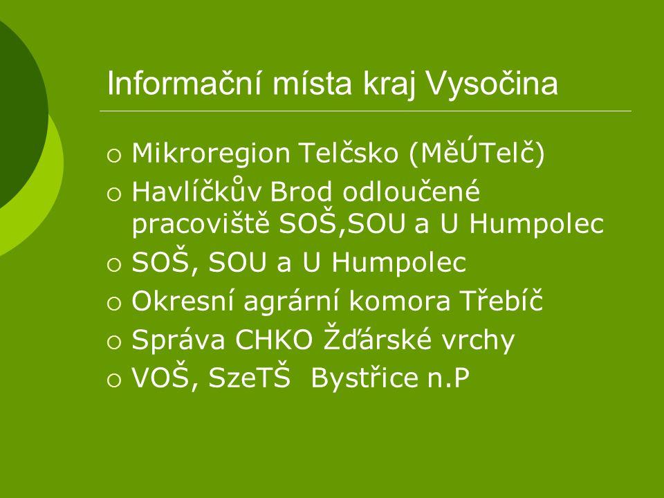 Informační místa kraj Vysočina