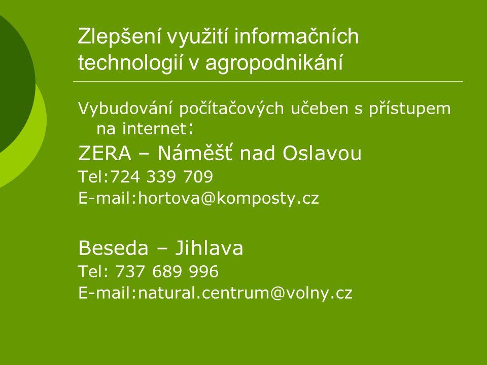 Zlepšení využití informačních technologií v agropodnikání