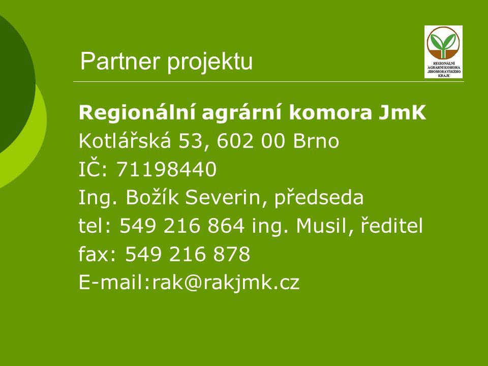 Partner projektu Regionální agrární komora JmK