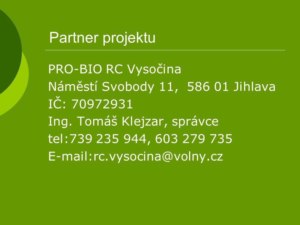 Partner projektu PRO-BIO RC Vysočina