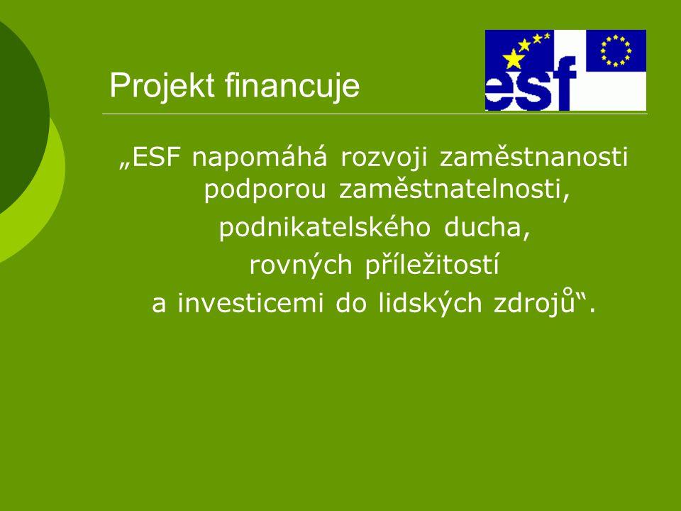 """Projekt financuje """"ESF napomáhá rozvoji zaměstnanosti podporou zaměstnatelnosti, podnikatelského ducha,"""