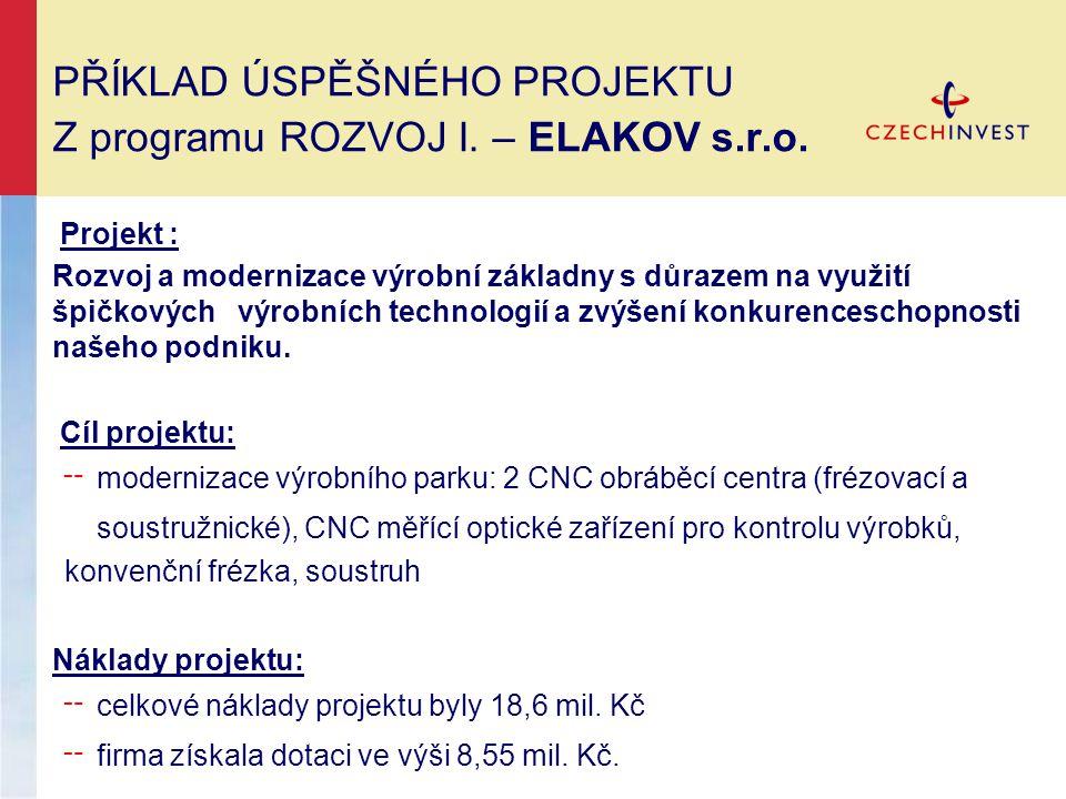 PŘÍKLAD ÚSPĚŠNÉHO PROJEKTU Z programu ROZVOJ I. – ELAKOV s.r.o.