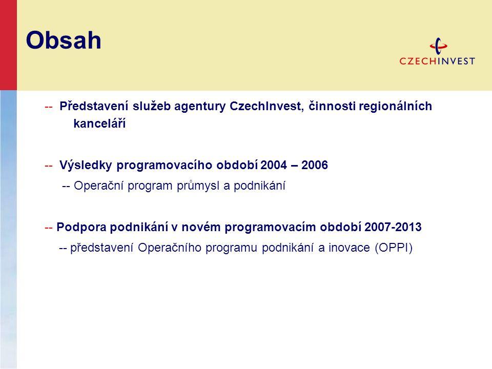 Obsah -- Představení služeb agentury CzechInvest, činnosti regionálních kanceláří. -- Výsledky programovacího období 2004 – 2006.