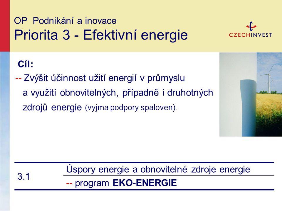 OP Podnikání a inovace Priorita 3 - Efektivní energie