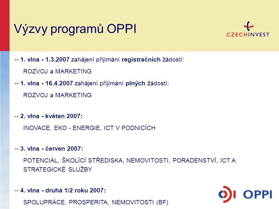 Výzvy programů OPPI -- 1. vlna - 1.3.2007 zahájení přijímání registračních žádostí: ROZVOJ a MARKETING.